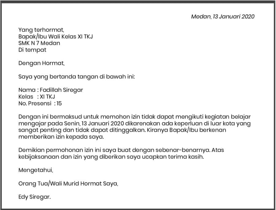Contoh Surat Izin Sekolah Smp Karena Sakit