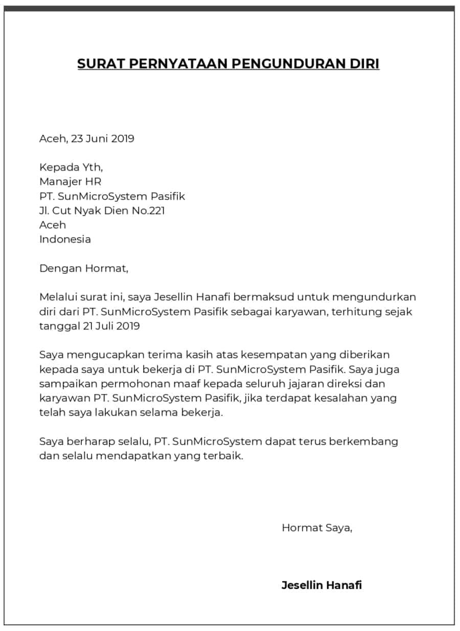Contoh Surat Pengunduran Diri Guru Smp